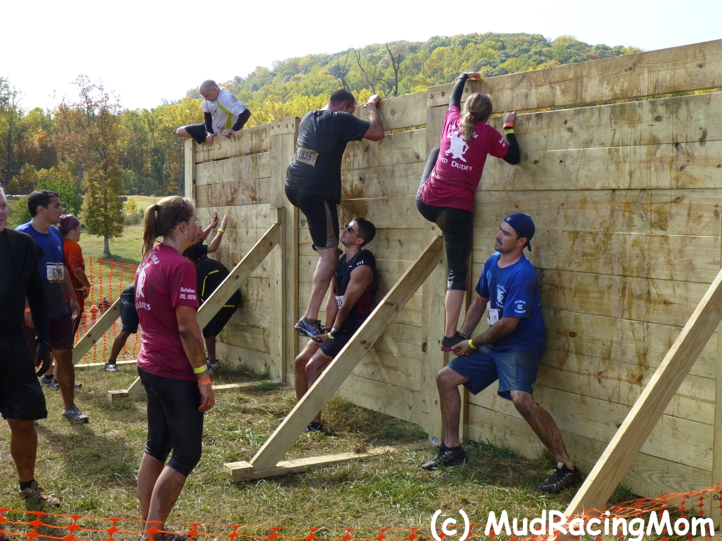 Setting up an obstacle course for adults