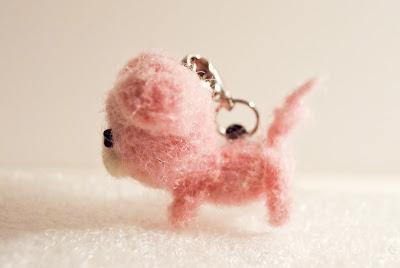Needle Felted Piggy Keychain