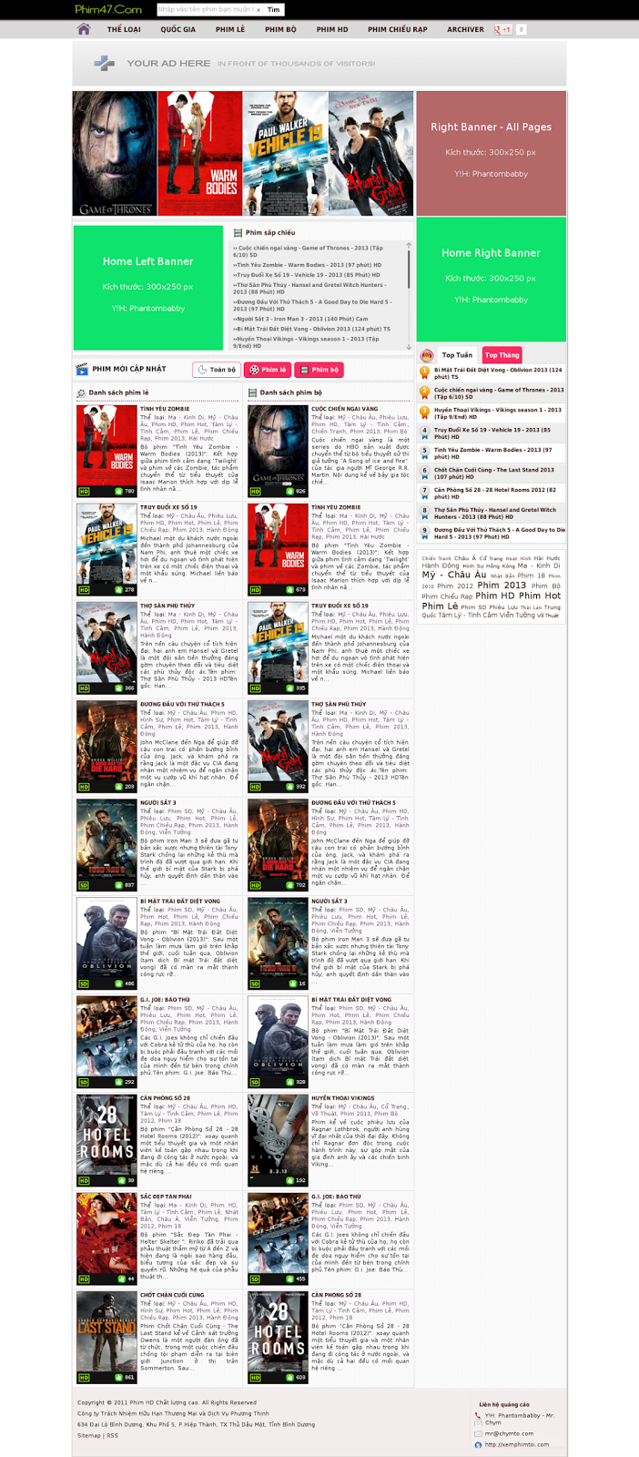 Chia sẻ 4 Template Blogspot làm site phim