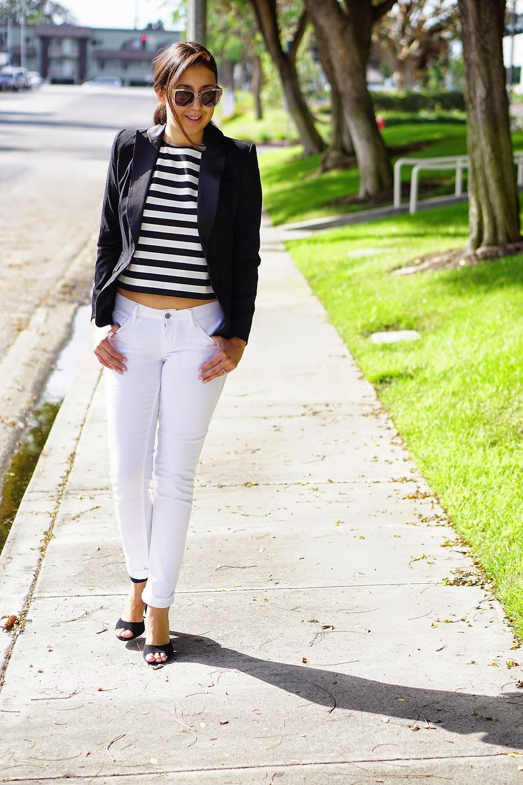 JCPenney, MNG by Mango Striped Crop Top, White Jeans, Arizona Skinny Jeans, Shoemint Penny Heels, Shoemint Heels, Chilli Beans Sunglasses, Altuzarra for Target Black Blazer, Black Blazer, Target,