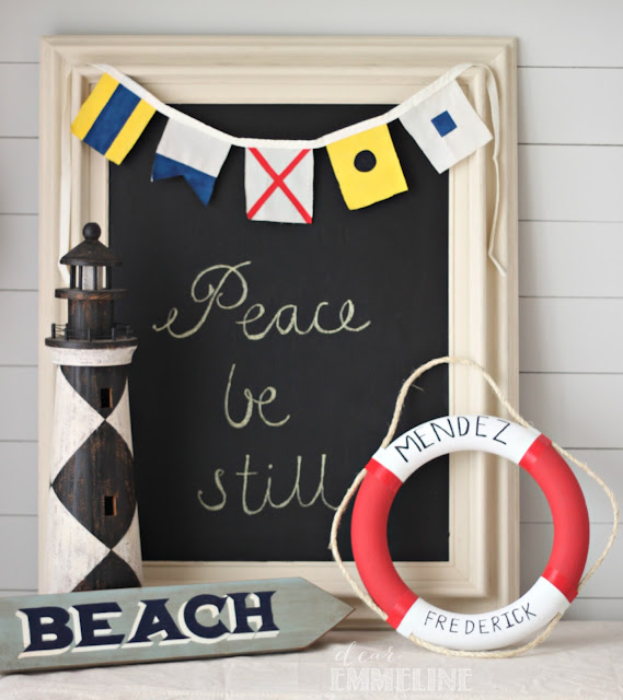 DIY Maritime Flag Bunting with Lifebuoy Wreath - #crafts #diy #nautical #bunting #maritime #flag