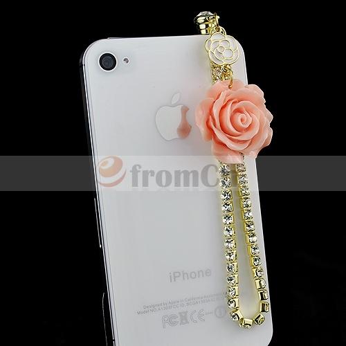 Rose Rhinestone Ear Cap Dustproof Plug 3.5mm Earphone Stopple for Iphone4 4S