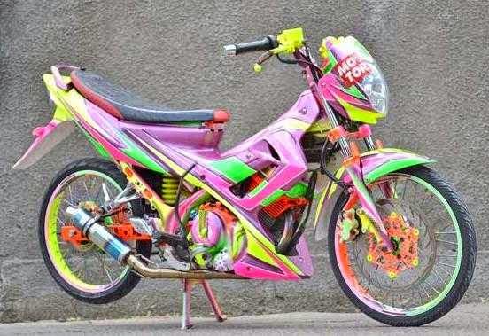 Gambar Modifikasi Satria FU warna pink