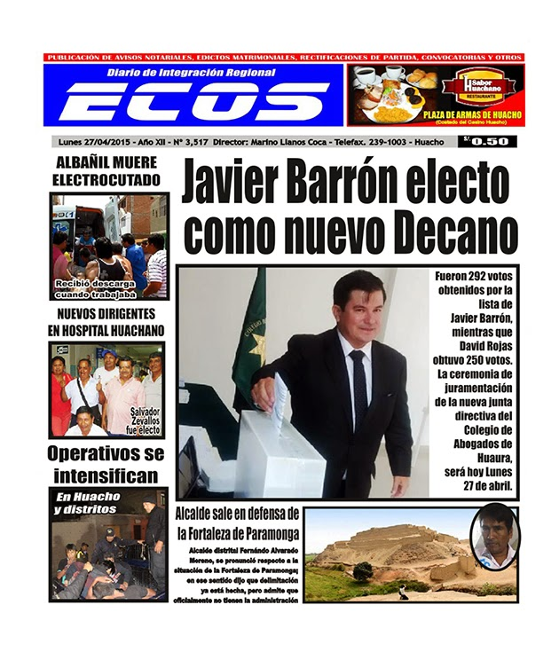 Esta es la edición del Diario ECOS lunes 27 de abril del 2015