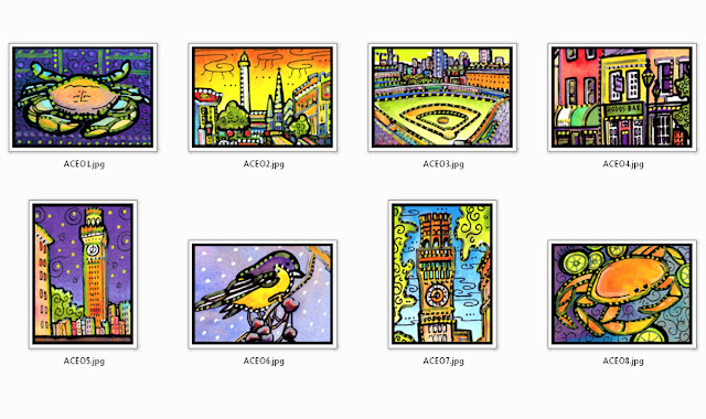 Baltimore ACEO Art Cards by Lynne Neuman