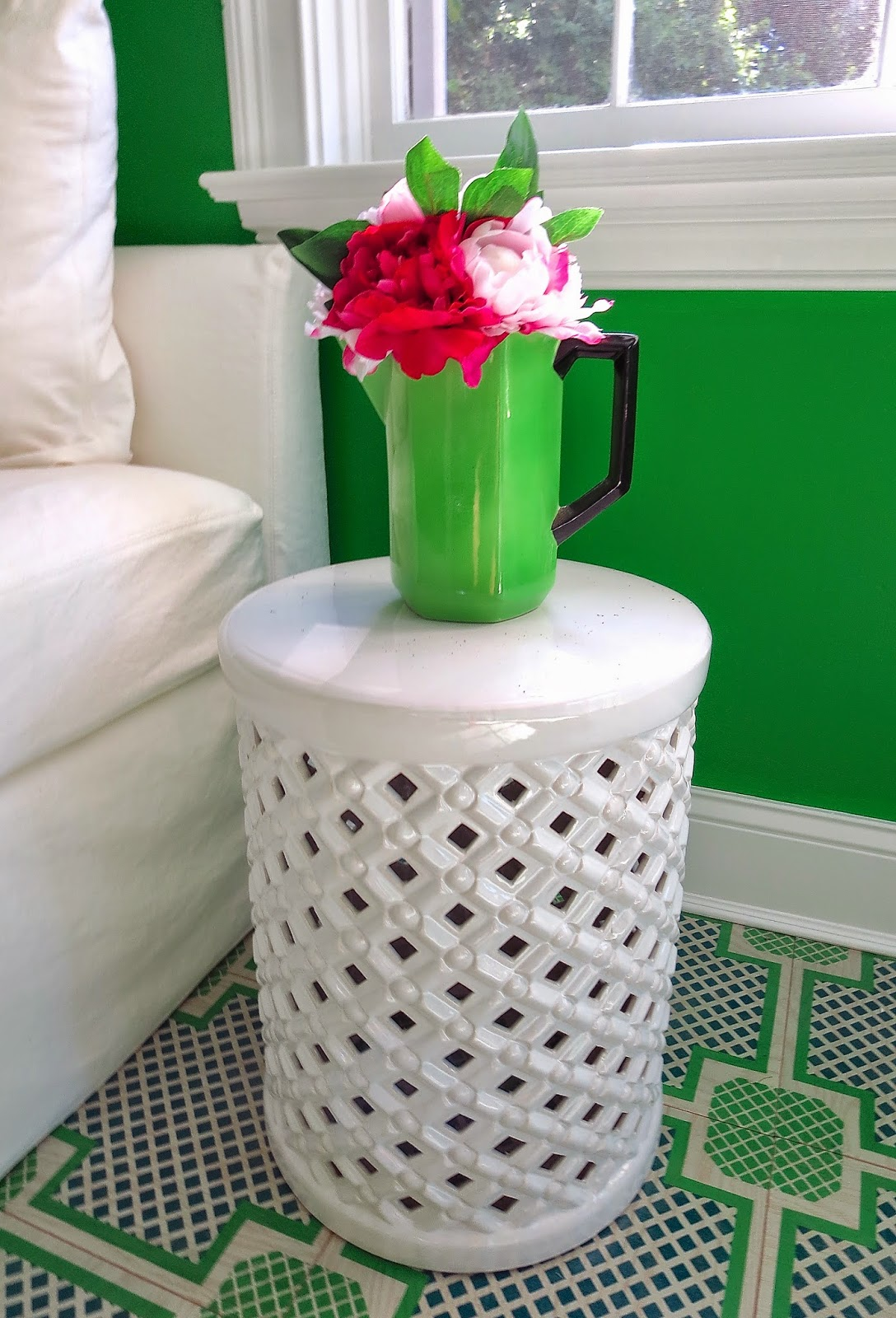 white ceramic porcelain garden stool