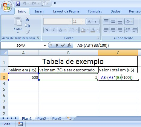 Fórmula porcentagem excel 2007