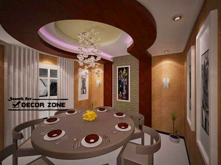 Marvelous Gypsum False Ceiling Designs For Dining Room With Colorful Lighting Systems Part 22