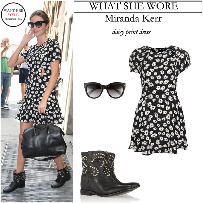 Miranda Kerr in black flower daisy print dress with black ankle boots ...