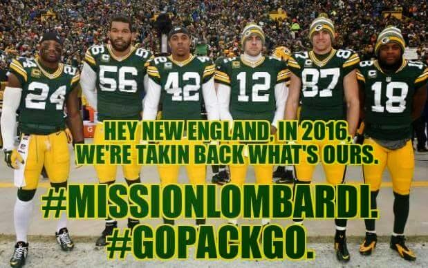 Hey new england in 2016, we're takin back what's ours. #missionlombardi. #gopackgo.