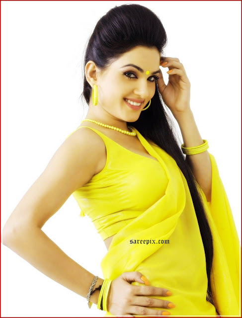 Kavya singh in yellow saree from Sorry Teacher