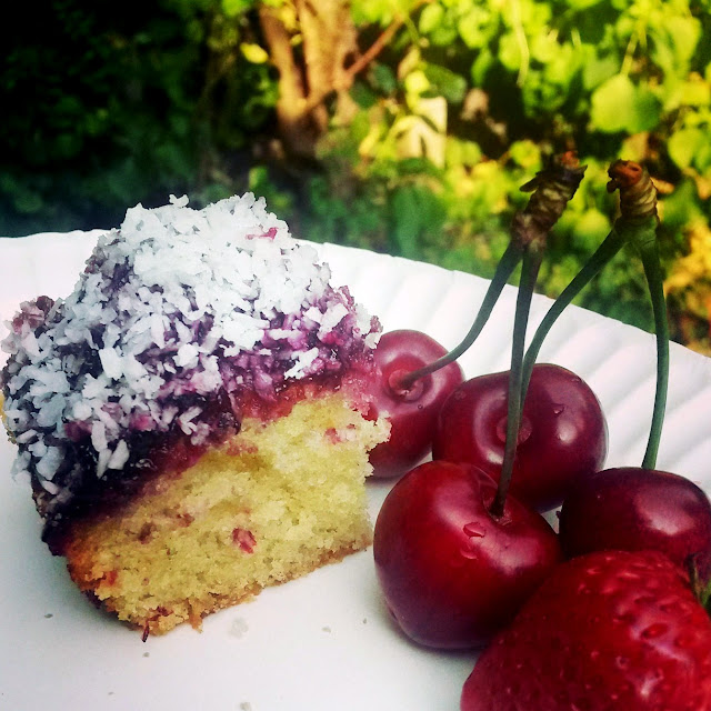 A slice with fruit - Jamie Oliver's Jammy Coconut Sponge