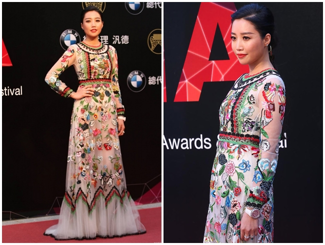 2015 Golden Melody Awards A-Lin in Valentino 2015 Resort Folkloric Long-Sleeved Tulle Gown