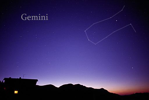 Chòm sao Gemini khi nhìn bằng mắt thường. Credit : AllTheSky.com