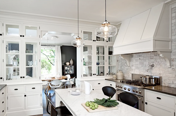 Glossy white subway tile backsplash kitchen