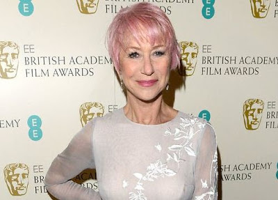 Helen Mirren pink hair Baftas 2013