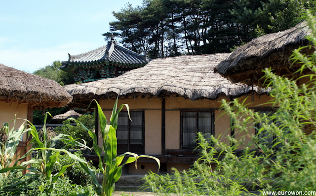Hanoks con tejado de paja en Museom
