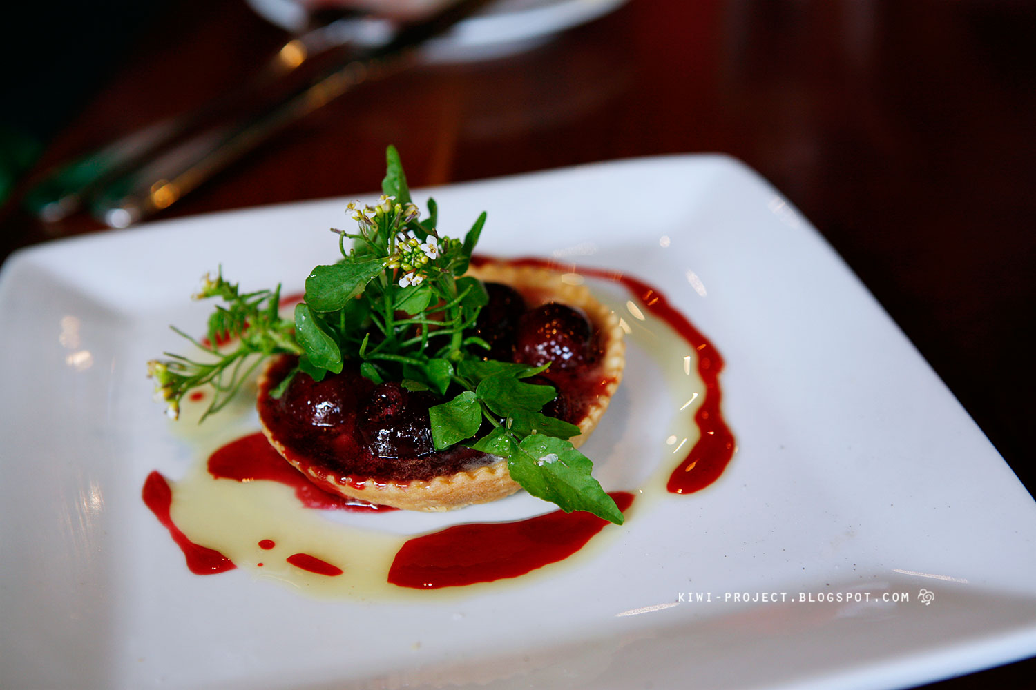 "Cherry Tart - ""Taleggio cheese, fresh watercress."" Sweet and sour ..."