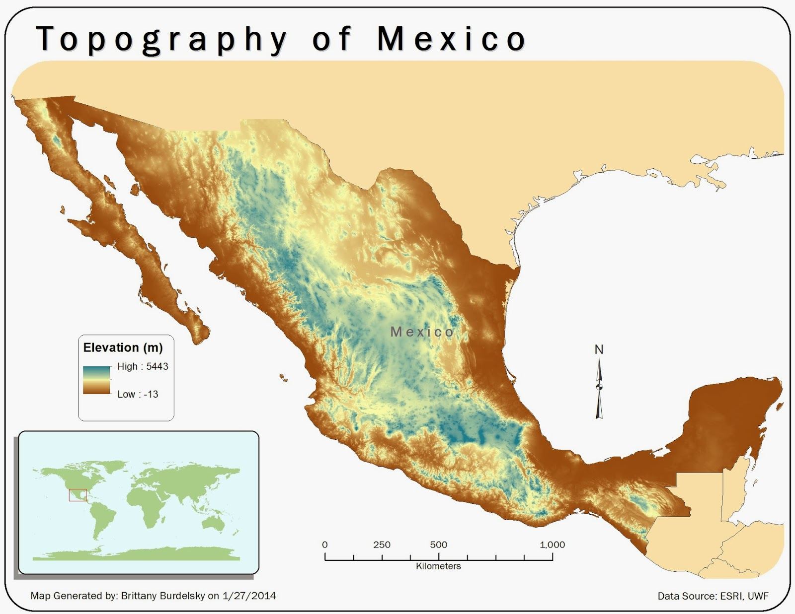 the map shows the topography of mexico using a raster data set with a stretched symbology color scheme