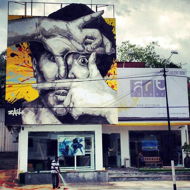Ernest zacharevic new mural in kuala lumpur malaysia for Mural 1 malaysia