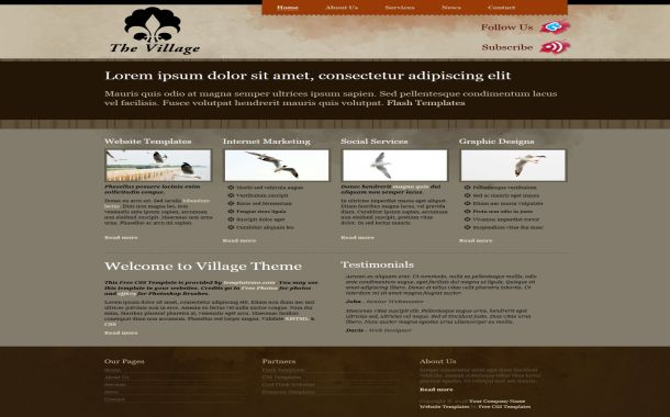 Free Red Brown Vintage CSS Website Template