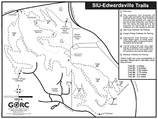 Trail Map of the Gateway Offroad Cyclist trails at Southern Illinois University Edwardsville