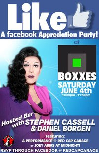 """Like"" A Facebook Appreciation Party with a Hosted Bar by Stephen Cassell and Daniel Borgen"