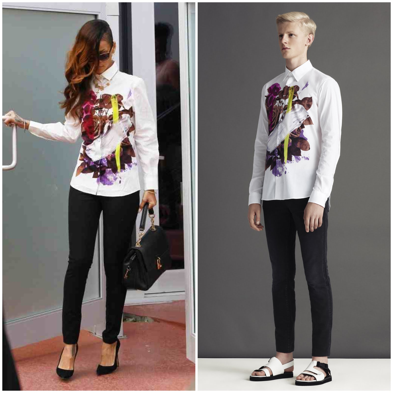 00O00 Menswear Blog Rihanna Christopher Kane SS2013 paint brush shirt leaving Chris Brown's house in Los Angeles February 2013
