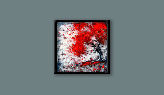 ABSTRACT PAINTING - 'Unspoken Words' - Experimenting with fan brush and acrylic paint, relaxing, 11