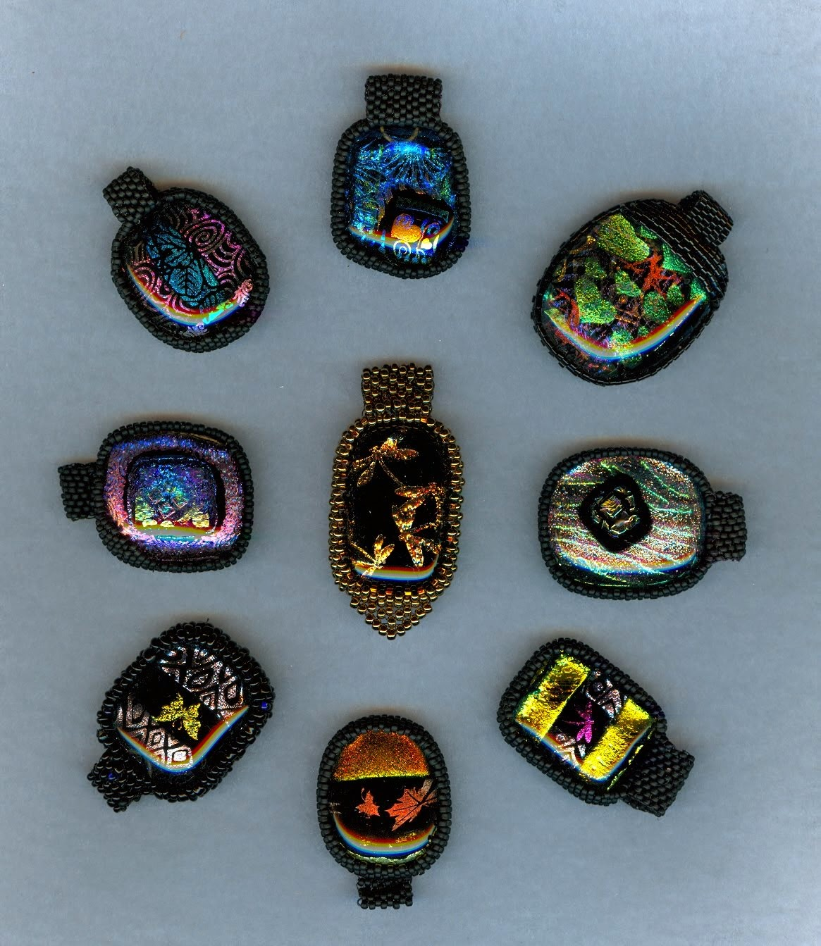 dichroic glass necklaces