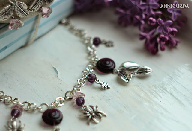 украшения, бижутерия, браслет, сережки, комплект, весенний комплект, фиолетовый, серебристый