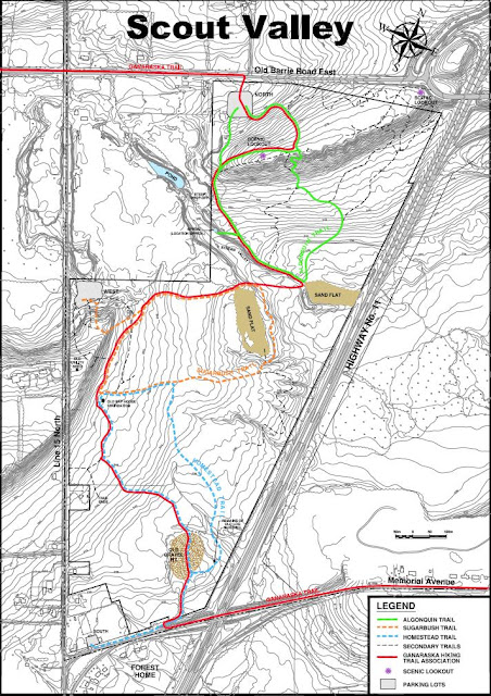topographical map of scout valley showing hiking trails