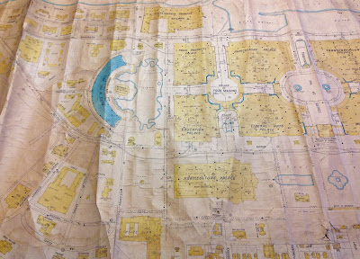 photo of yellow and blue map detail