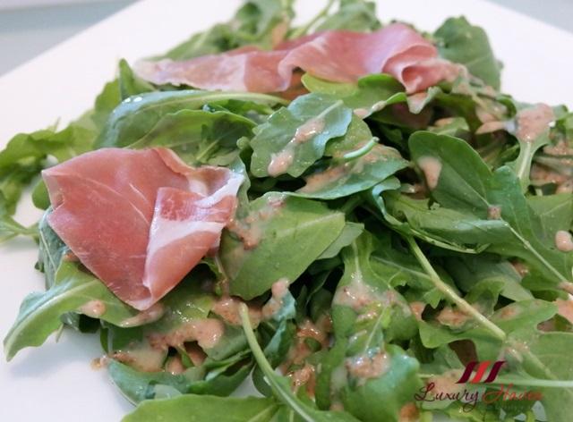 purelyfresh arugula parma ham salad goma sauce
