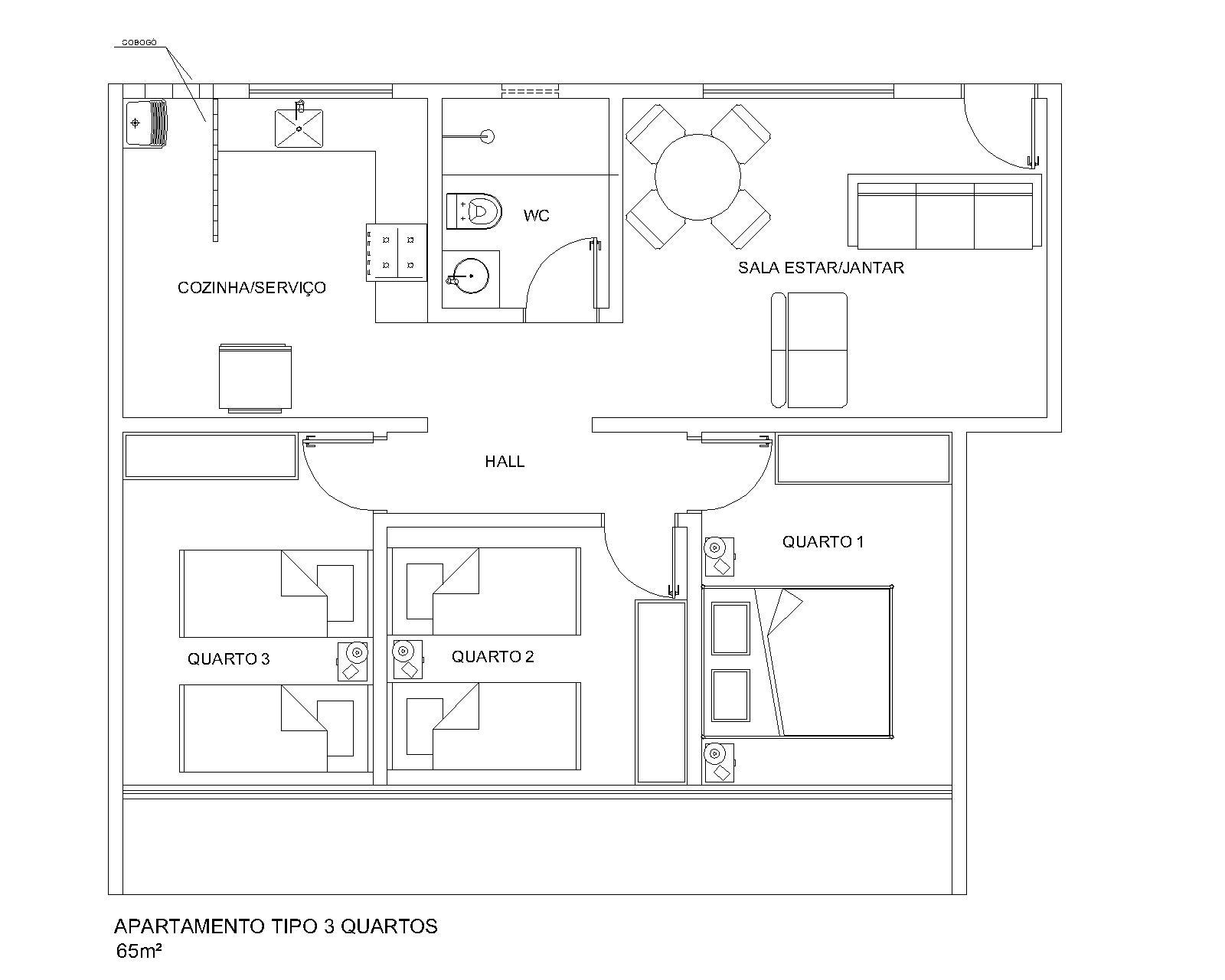 Com isso criei uma planta retangular mantendo os quartos separados em  #4D4D4D 1600 1280