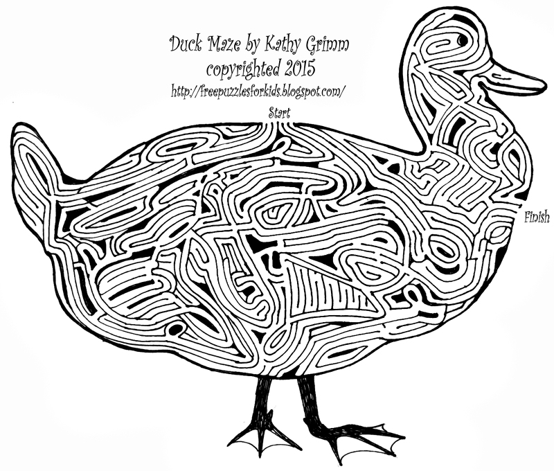 Free Puzzles For Kids Duck Maze