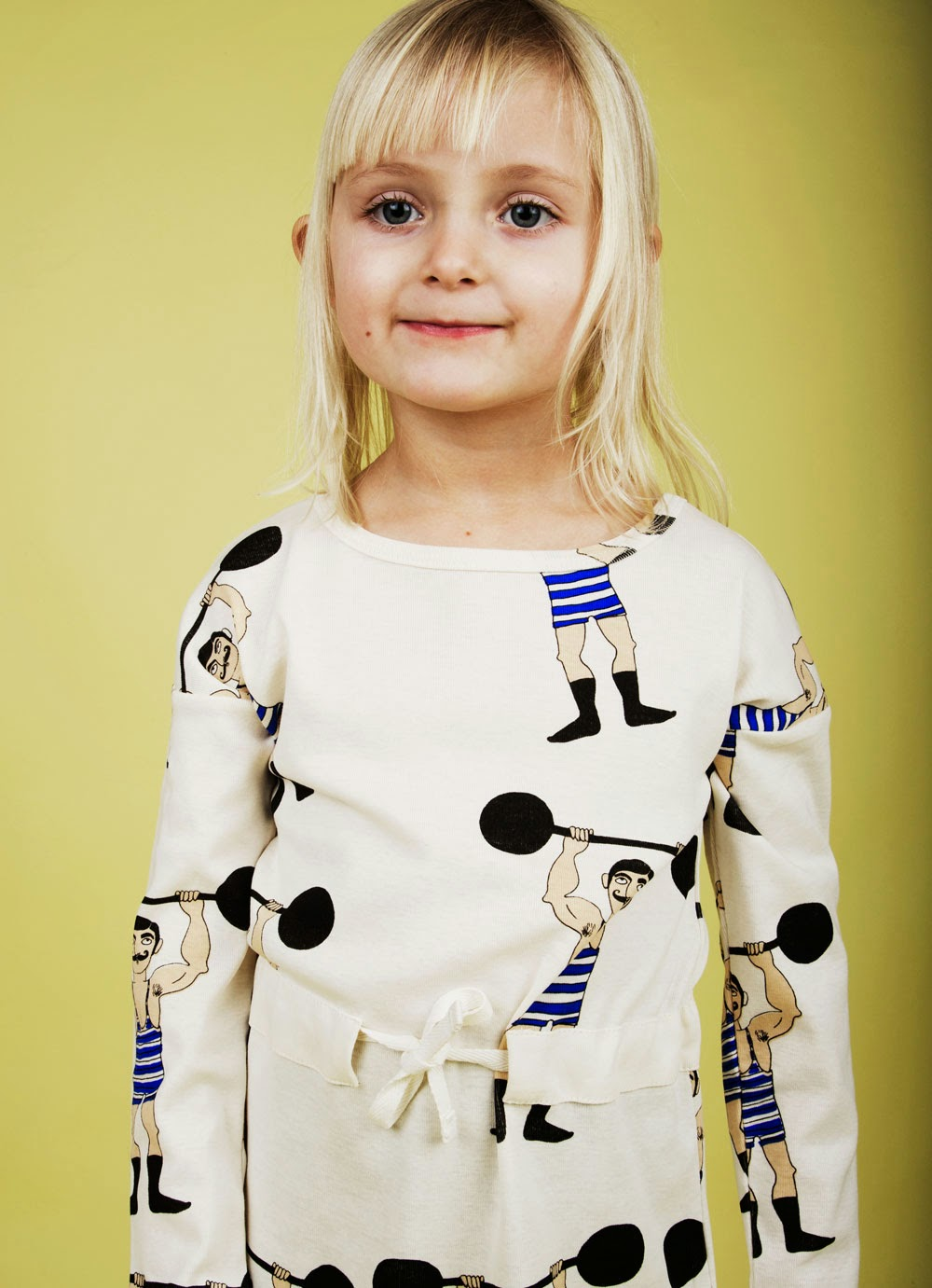 Retro weightlifter print by Mini Rodini for Autumn/Winter kidswear collection