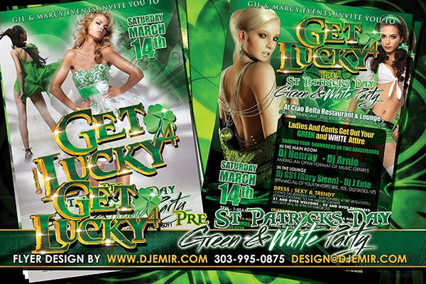 Get Lucky 4 Green & White St Patrick's Day Party Flyer Design