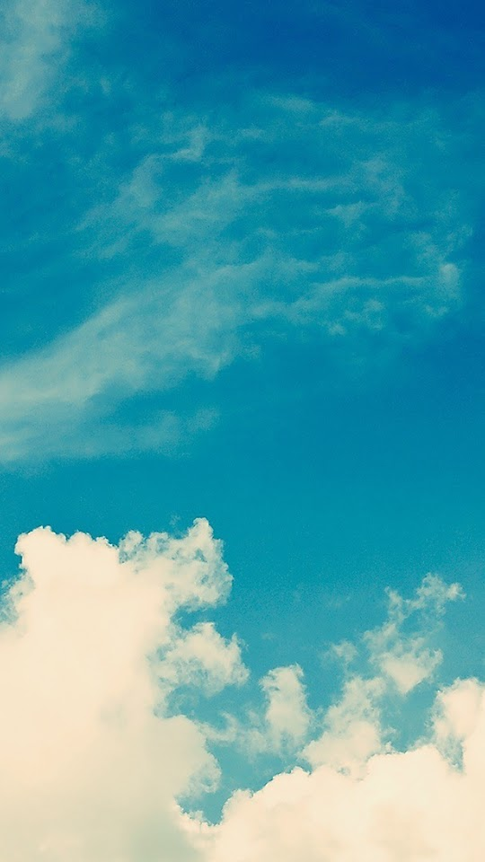 White Vintage Clouds Blu Sky  Galaxy Note HD Wallpaper