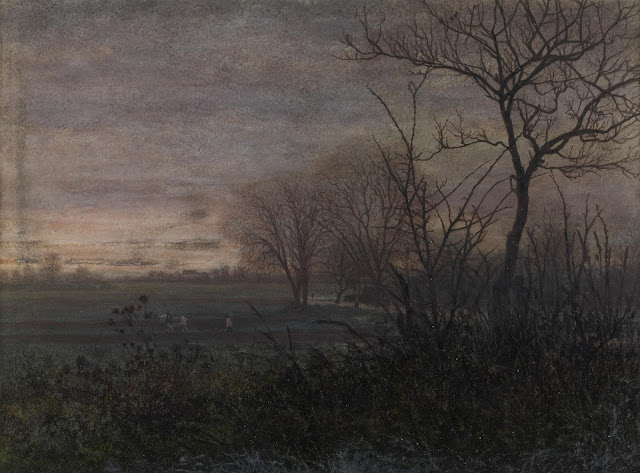 Léon Bonvin  French 1865, Plowing at Dusk as seen on linen & lavender (l&l)
