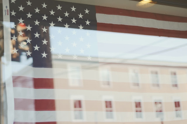 American, flag, window, reflection, Yardley, Pennsylvania