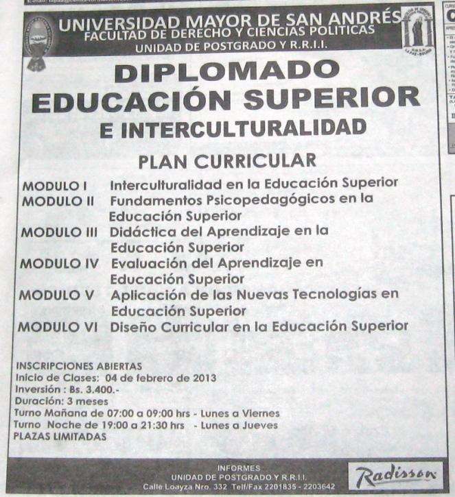 UMSA Diplomado Educacion Superior e Interculturalidad