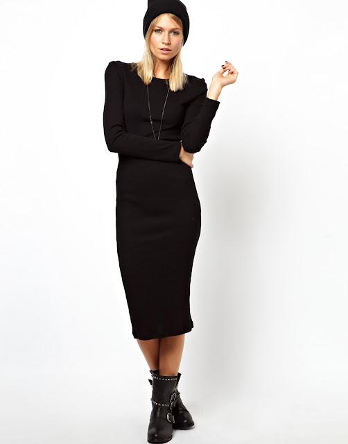 long sleeved black midi dress