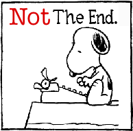 "Snoopy typing ""not the end""; how not to end a novel"