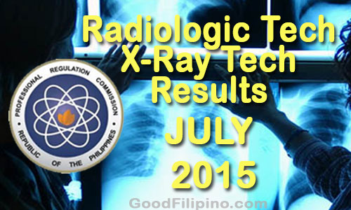 Radiologic & X-Ray Technologist Board Exam Results (July 2015)