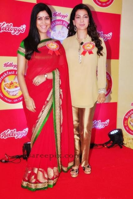 Sakshi tanwar in saree with Juhi chawla
