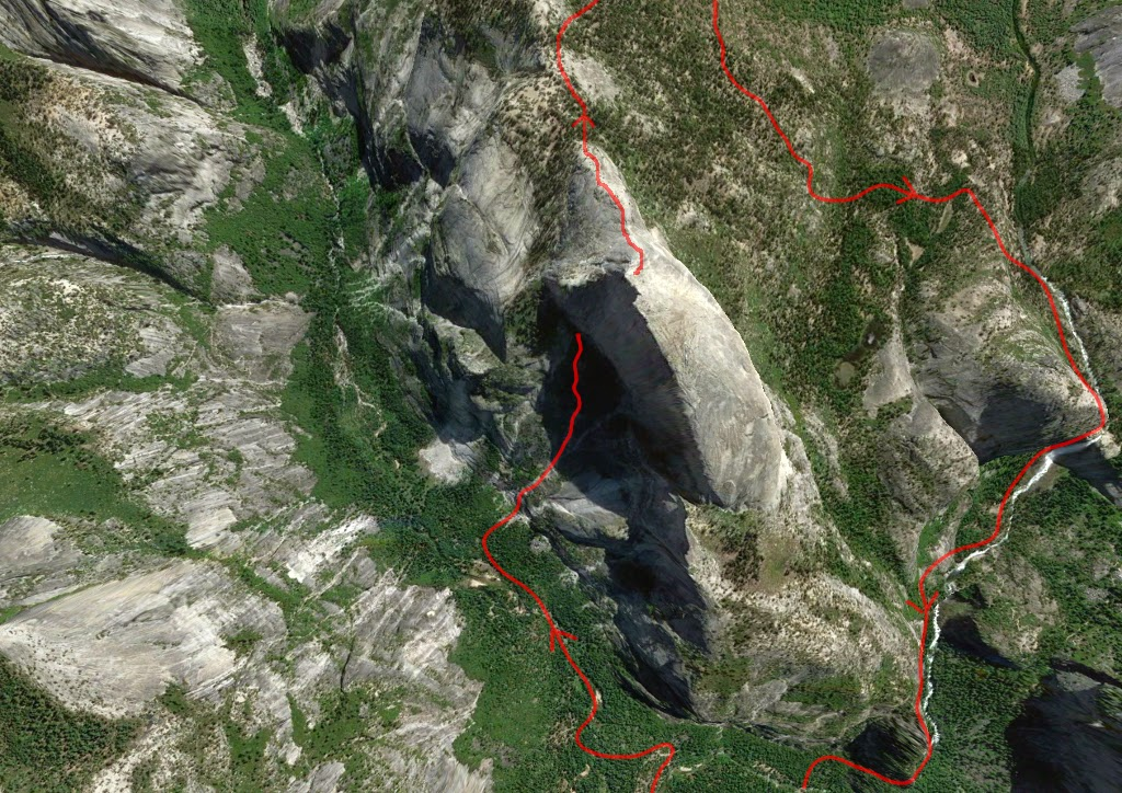 Half Dome showing approach and descent