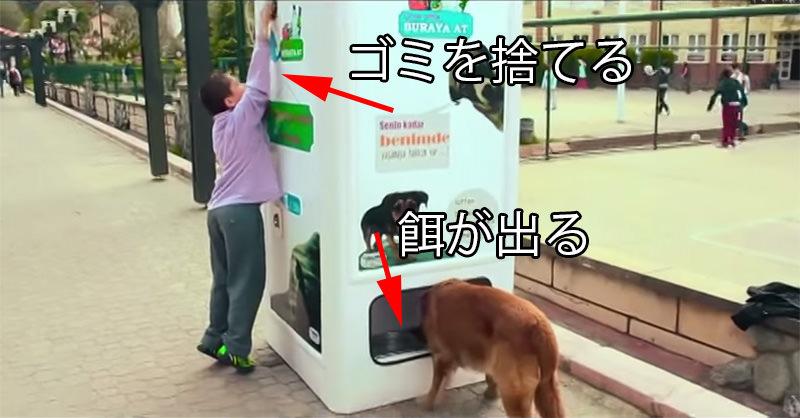 人がゴミを捨てると、ドッグフードや水が出てくる機械