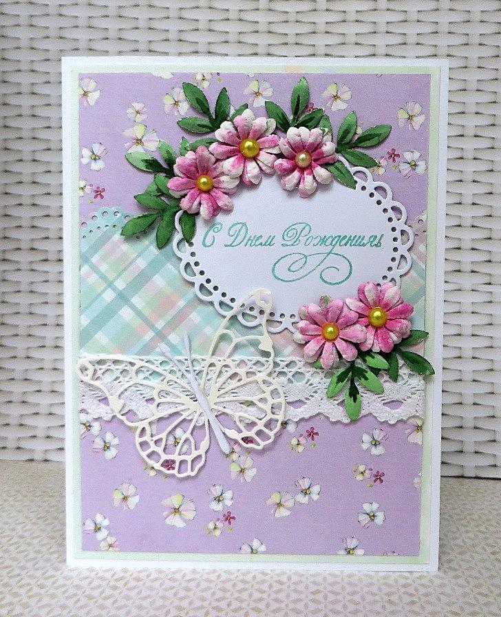 Самодельный цветочек на открытку