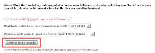 Настройка загрузки в сервисе Fileden.com